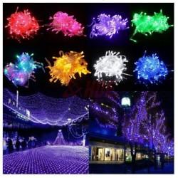 Instalatie 100 leduri multicolora, lungime 10 m si controller de jocuri luminoase