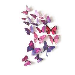 Fluturi 3D cu magnet, decoratiuni casa sau evenimente, set 12 bucati, mov