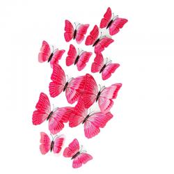 Fluturi 3D cu magnet, dubli, decoratiuni casa sau evenimente, set 12 bucati, roz, A29