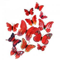 Fluturi 3D cu magnet, dubli, decoratiuni casa sau evenimente, set 12 bucati, rosu, A15