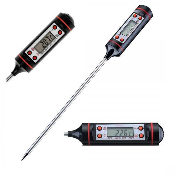 Termometru alimentar digital de insertie cu 4 butoane, culoare negru, cu tija